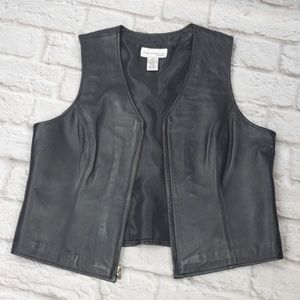 Croft & Barrow Lambskin  Black Leather Vest